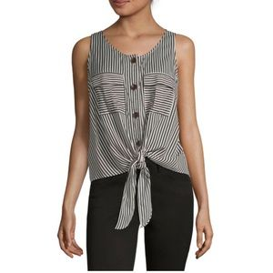 NWT a.n.a Button/Tie Front Sleeveless Blouse
